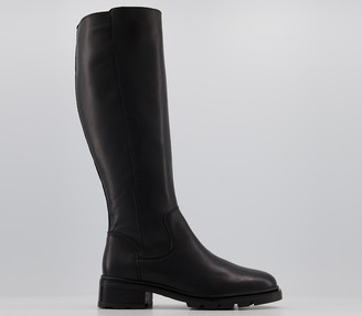 Office Kingly Clean Chunky Cleated Knee Boots Black Leather