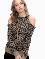 Splendid Printed Leopard Cold Shoulder Sweatshirt
