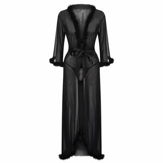 DESIBA Cardigan Lingerie for Women Sexy Long Lace Dress Sheer Gown See Through Kimono Robe Fur Collar Bud Silk Gauze Cardigan Robes(Black M)
