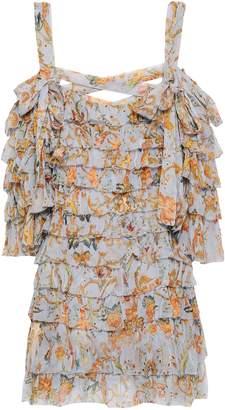 Zimmermann Painted Heart Ra Ra Cold-shoulder Tiered Printed Silk-georgette Mini Dress