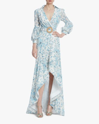 Badgley Mischka Floral Eyelet Hi-Low Dress