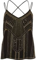 River Island Womens Black and gold embellished strappy cami top