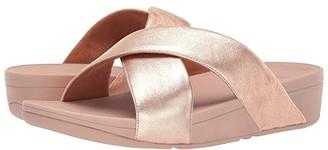 FitFlop Lulu Cross Slide Leather Sandal (Rose Gold) Women's Sandals
