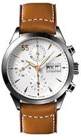 Raidillon Timeless Men's Automatic Watch with White Dial Chronograph Display and Brown Leather Strap 38-CAT-049