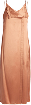 Edun V-neck satin-twill midi slip dress