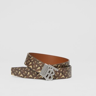 Burberry Reversible Monogram Motif E-canvas and Leather Belt