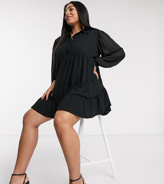 In The Style Plus x Jac Jossa button through swing shirt dress in black