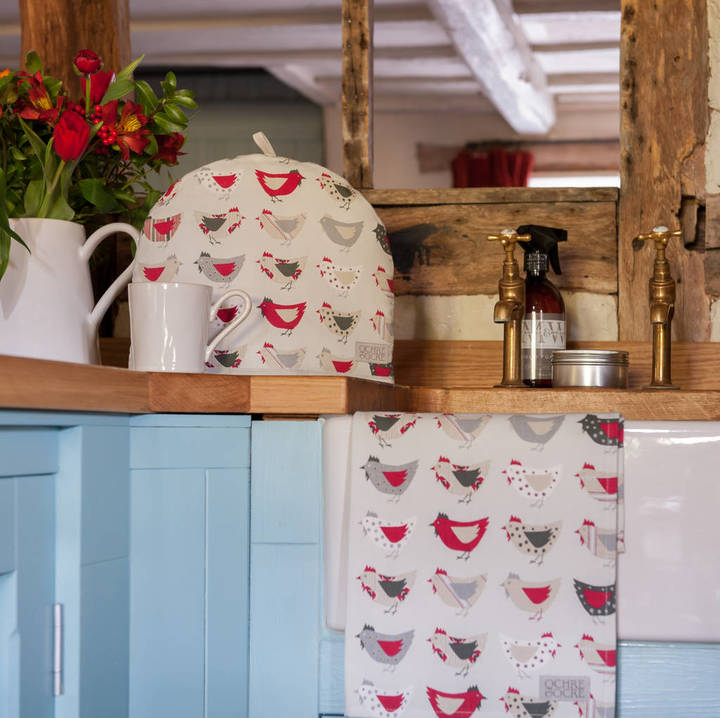 Cottage in the Hills Personalised Embroidery Roost Red Tea Cosy