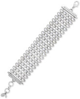 Lucky Brand Silver-Tone Multi-Layer Mother-of-Pearl-Look Link Bracelet