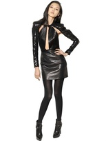 Saint Laurent Sequin Sleeves And Nappa Leather Dress