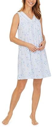 Carole Hochman Soft Jersey Sleeveless Short Gown (White Multi Ditsy) Women's Pajama