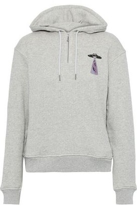 ALEXACHUNG Printed Melange French Cotton-terry Hoodie