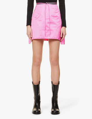Helmut Lang Self-tie belt woven-shell mini skirt