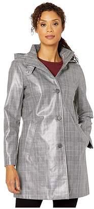 Lauren Ralph Lauren Laminated Plaid Raincoat (Black/Red/White Plaid) Women's Clothing