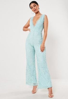 Missguided Lace Sleeveless Plunge Playsuit