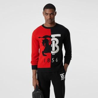 Burberry Contrast Logo Graphic Intarsia Cashmere Sweater