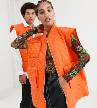 Collusion Unisex sleeveless quilted jacket in orange