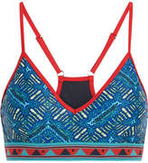 The Upside Casa Azul Andie Printed Stretch Sports Bra - Turquoise