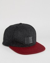 Asos Snapback Cap In Burgundy & Charcoal Melton
