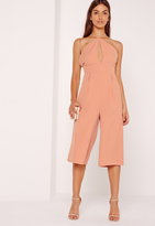 Missguided Crepe Keyhole Cut Out Culotte Romper Pink