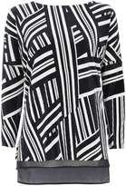 Monochrome Geometric Print 3/4 Sleeve Top