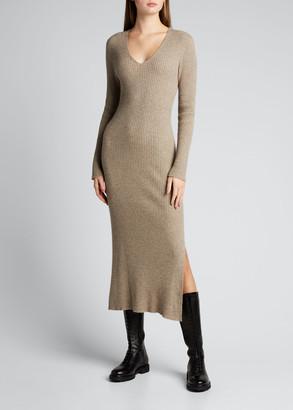 Issey Miyake Rib-Knit Wool-Blend Midi Dress w/ Side Slit