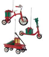 Kurt Adler Childs Toys Red Tricycle Scooter and Wagon Christmas Holiday Ornaments Set of 3