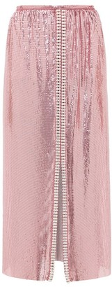 Paco Rabanne Crystal-embellished Chainmail Midi Skirt - Womens - Pink