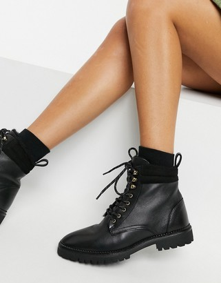 And other stories & leather lace-up shearling lined boots in black