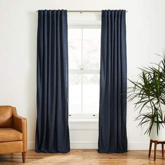 west elm Faux Silk Moire Curtain - Midnight