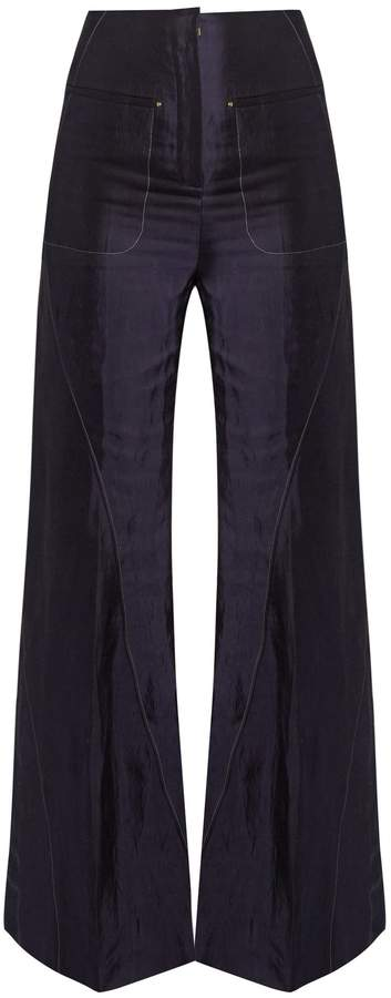 Esteban Cortazar High-rise flared charmeuse trousers