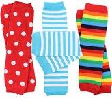 juDanzy 3 Pair Baby Boy And Girl Leg Warmers stripes, Polka Dot, Rainbow
