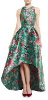 Monique Lhuillier Sleeveless Floral Mikado High-Low Gown, Malachite