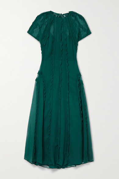 Thumbnail for your product : Jason Wu Collection Ruffled Crinkled Silk-chiffon Midi Dress - Dark green