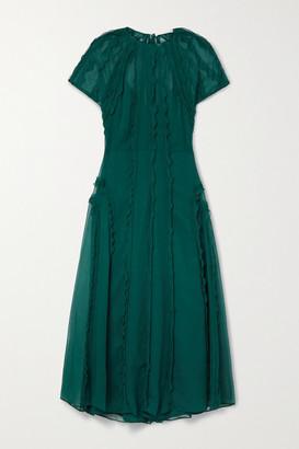 Jason Wu Collection Ruffled Crinkled Silk-chiffon Midi Dress - Dark green