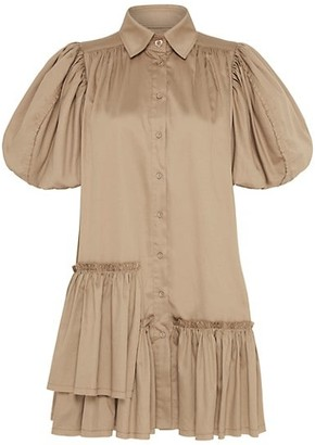 Aje Ambience Puff-Sleeve Shirt Dress