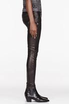 Balmain Black Leather ribbed Leggings