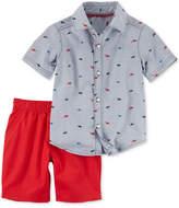 Carter's 2-Pc. Cotton Dinosaur-Print Shirt & Canvas Shorts Set, Baby Boys