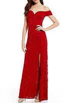 B. Darlin Off-The-Shoulder Sequin Lace Long Dress