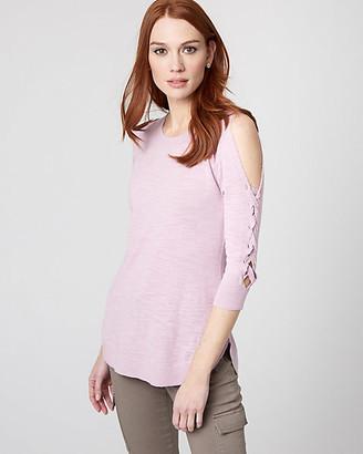 Le Château Cotton Blend Lace-Up Sleeve Sweater