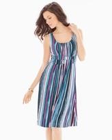 Soma Intimates Sleeveless Wrapped Waist Short Dress Artist Stripe Peacock