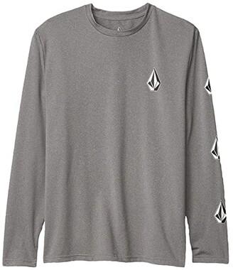 Volcom Deadly Stones Rashguard (Big Kids) (Grey) Boy's Swimwear