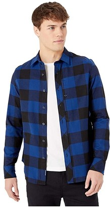 G Star G-Star Stalt Straight Shirt Long Sleeve (Dark Black/Imperial Blue Check) Men's Clothing