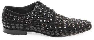 Dolce & Gabbana Crystal-Embellished Leather Derby Shoes