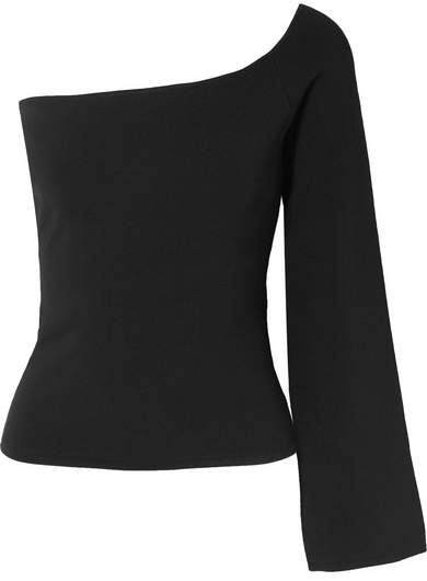 SOLACE London The Renata One-shoulder Stretch-knit Top - Black