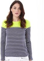 Superdry Womens Essential Colour Block Breton T-Shirt Neon Lime