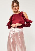 Missguided Petite Exclusive Burgundy Satin Cold Shoulder Bodysuit