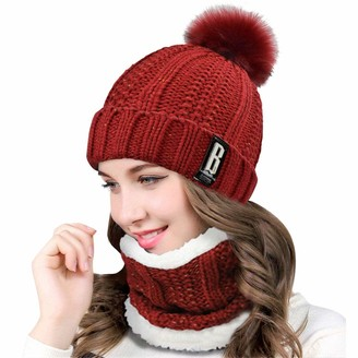 heekpek Womens Winter Beanie Hat Scarf Set Outdoor Sports Hat Sets for Women Fur Pom Pom Thick Knitted Skull Cap for Girls (Black)