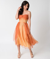 Vintage 1950s Orange Crinkle Silk Strapless Swing Dress