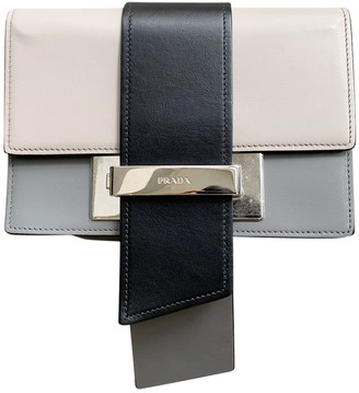 Prada Ribbon Grey Leather Clutch bags